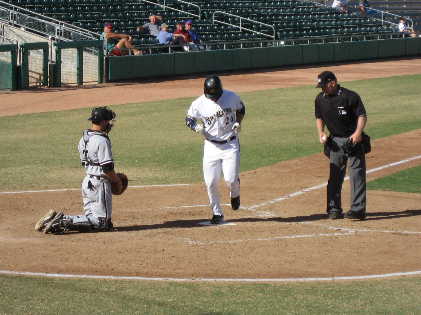 Matt Laporta crossing home plate for the Mesa Solar Sox - Arizona Fall League - 11/12/2007- soul-amp.com